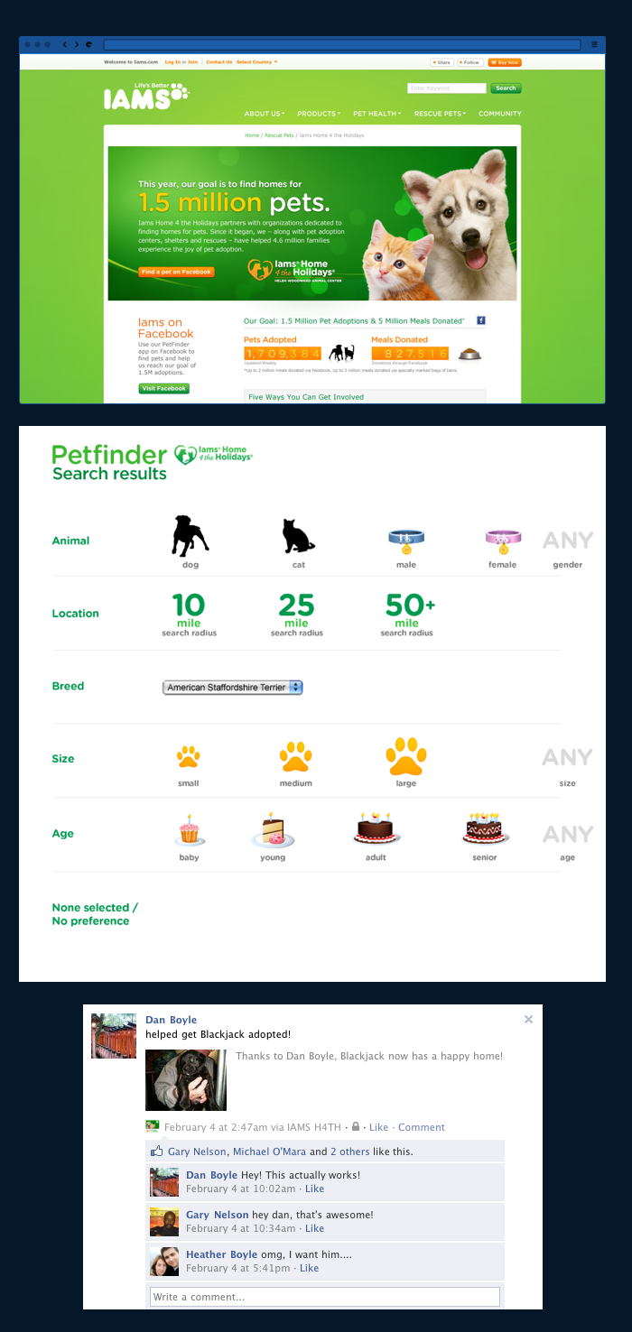 Iams H4TH home page, iconography, and Facebook integration
